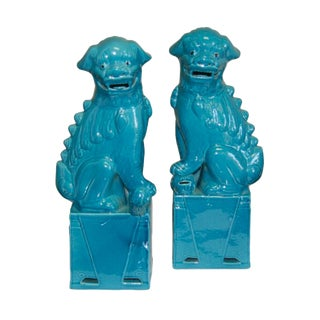 Large Cobalt Blue Porcelain Sitting Foo Dogs - a Pair