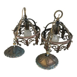 1920s Vintage Meisner Wrought Iron & Brass Chandeliers - a Pair For Sale