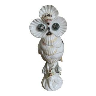 Vintage Mottahedeh Porcelain Owl Shell Figurine For Sale
