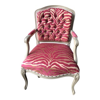 Queen Anne Refurbished Pink Animal Print Tufted Bergere Chair For Sale
