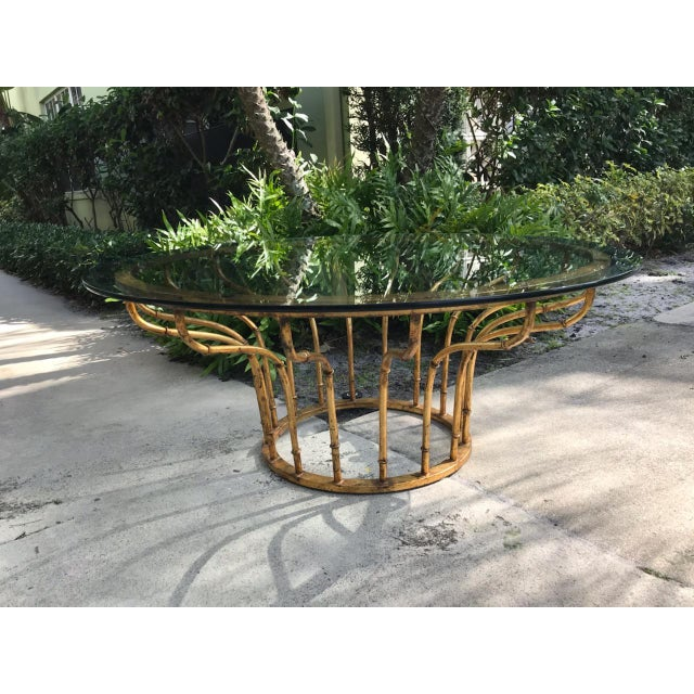 1960s Boho Chic Gilt Faux Bamboo Circular Coffee Table For Sale - Image 5 of 5