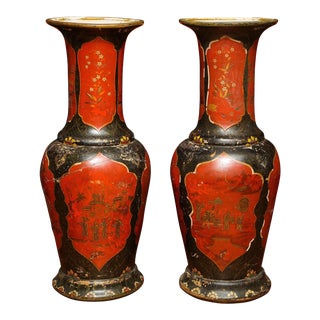 19th Century Chinoiserie Faience Red and Black-Lacquered Vases - a Pair For Sale