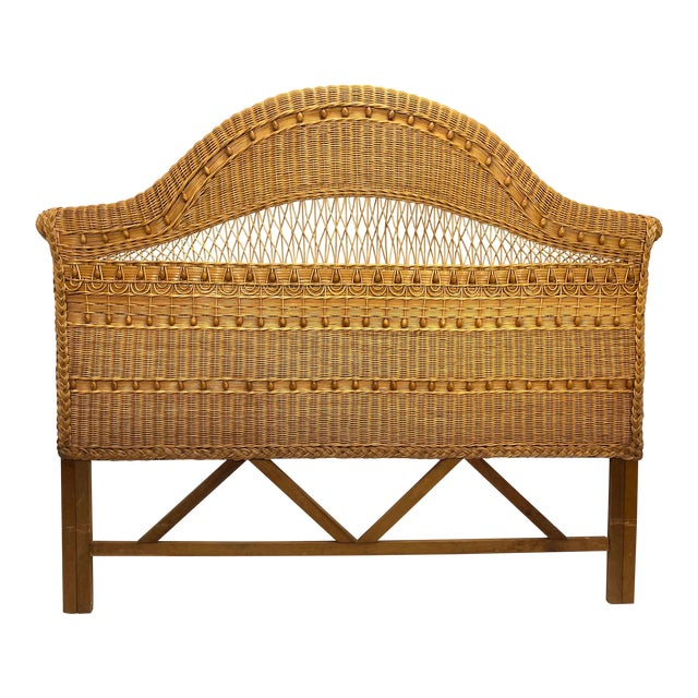 1960s Queen Size Wicker Headboard For Sale