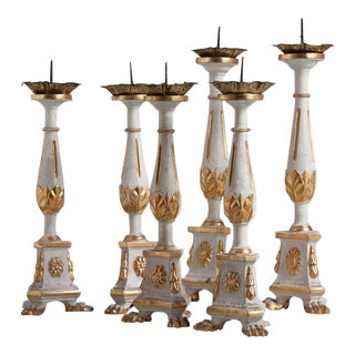 Set of Three Pairs of 19th Century Pricket Candle Sticks Italy Circa 1820