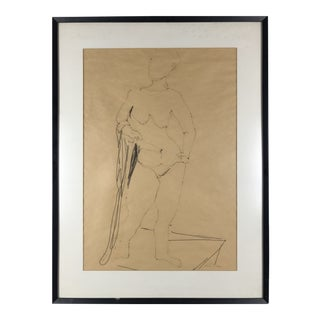 Modernist Nude Female Drawing on Parchment by Helen Cox For Sale