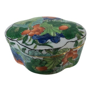 Late 20th Century Vintage Chinese Porcelain Floral Box For Sale