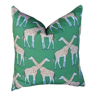 Chinoiserie Hugging Giraffe Print Pillow Cover For Sale