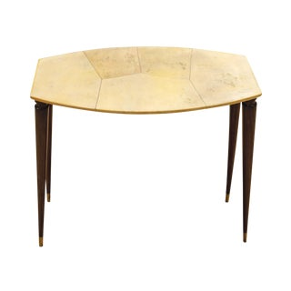 Attributed to Aldo Tura - Side Table in Walnul Wood and Parchment, Italy, Circa 1950 For Sale