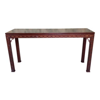 Kindel Carved Mahogany Chippendale Hall Console Table