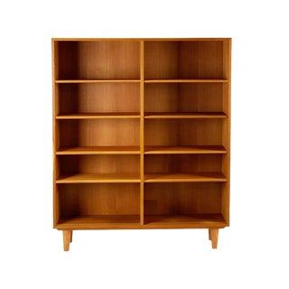 1960s Danish Modern Oak Bookcase For Sale