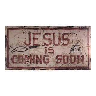 """Second Coming"" Hand-Painted Metal Sign"