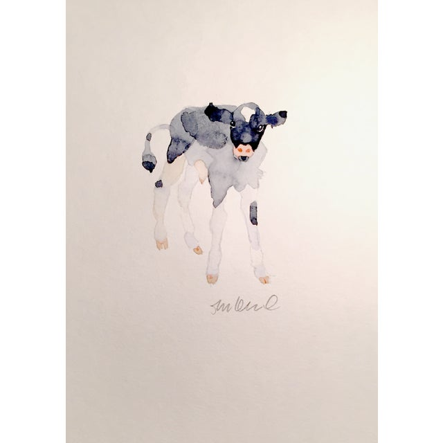 Black & White Calf Watercolor - Image 1 of 2