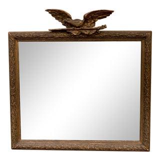 Vintage Gold Leaf Antique Mirror With Soaring Eagle For Sale