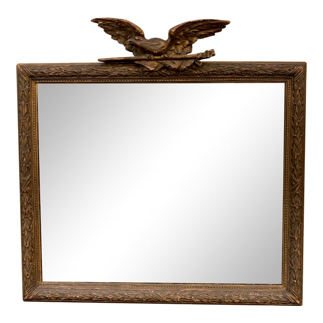 Vintage Gold Leaf Antique Mirror With Soaring Eagle For Sale