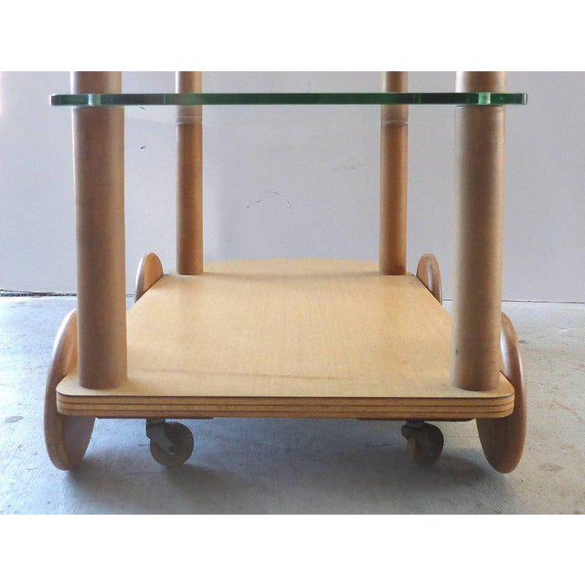 1940s Oak and Glass Two-Tier Bar Cart by Gilbert Rohde For Sale - Image 9 of 11