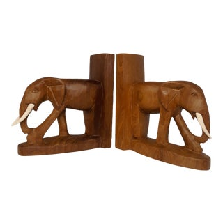 1970s Hand Carved Solid Wood Elephant Bookends - a Pair For Sale