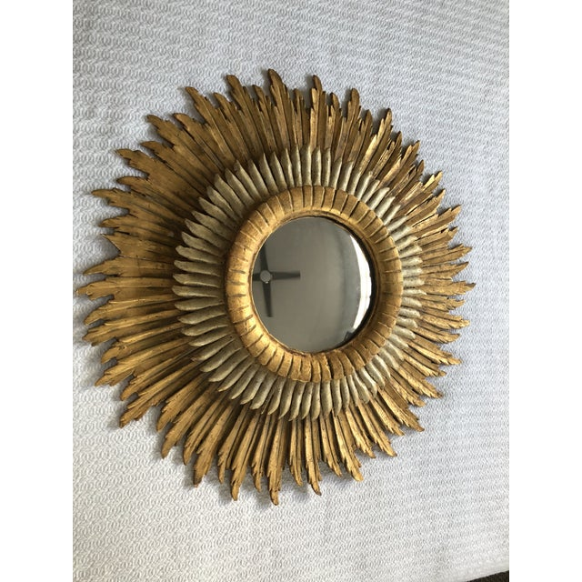 Spanish Baroque Double Layered Gold Leaf Gilt-Wood and Silvered Sunburst Mirror For Sale - Image 11 of 11
