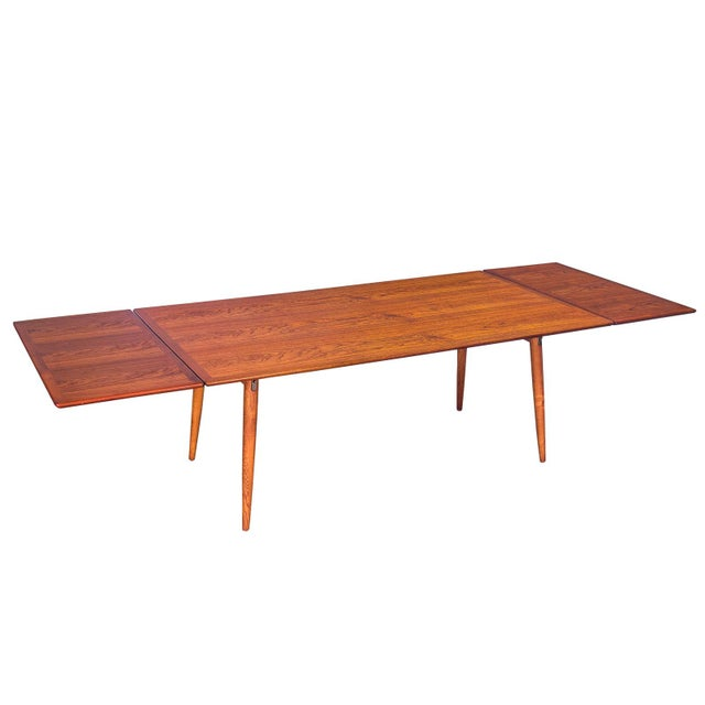 Hans J. Wegner JH570 Exapandable Teak Dining Table for Johannes Hansen For Sale - Image 10 of 11