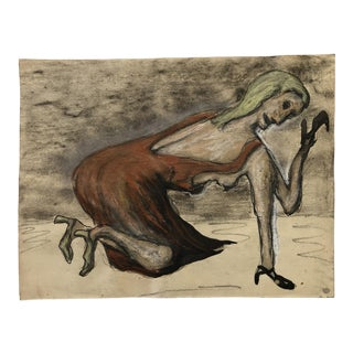 Mid Century Ink Wash Female Figure Original Vintage Nyc Artist For Sale