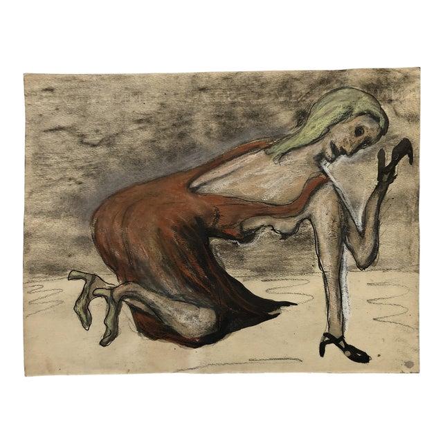 Mid Century Ink Wash Female Figure Original Vintage Nyc Artist