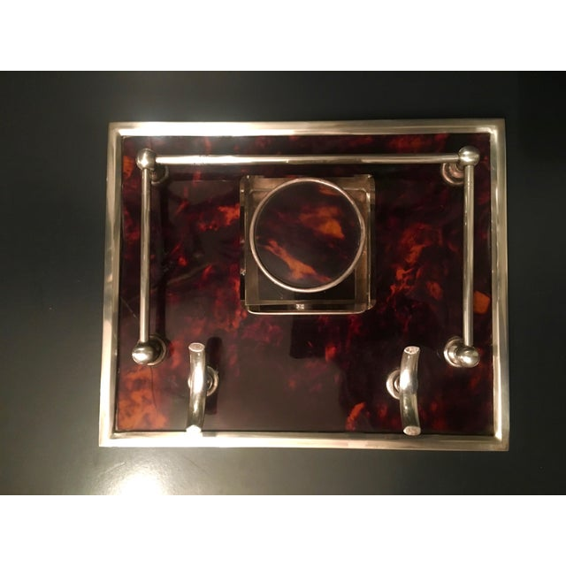 Mid 20th Century Red Tortoise & Sterling Silver Ink Well For Sale - Image 5 of 6