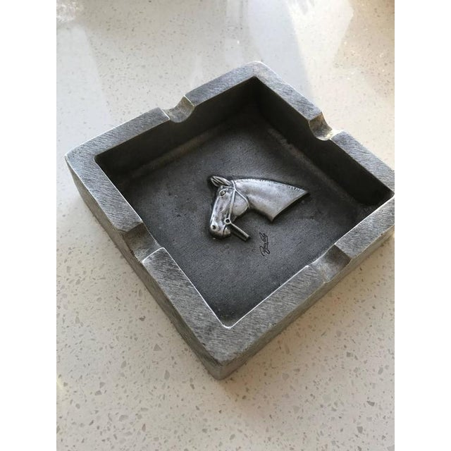 Mid-Century Modern Equestrian Theme Ashtray in Pewter For Sale - Image 4 of 10
