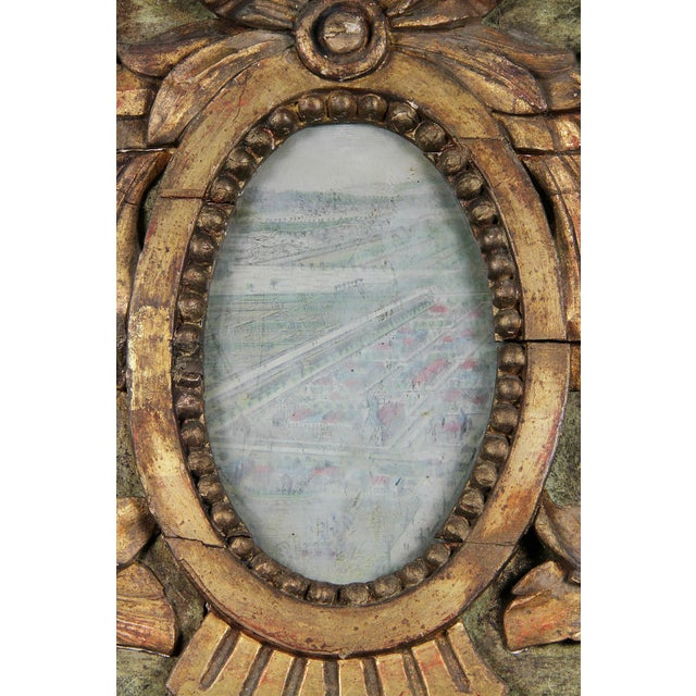 French Louis XVI Giltwood and Green Painted Mirror For Sale - Image 3 of 7