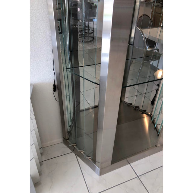 Industrial Pair of Modernist Rougier Stainless and Glass Shelving Vitrines For Sale - Image 3 of 7