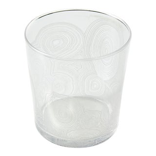 Short Clear Etched Malachite Drinking Glasses - a Pair For Sale
