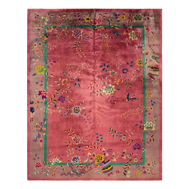 Early 20th Century Antique Art Deco Chinese Wool Rug For Sale