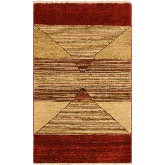 Tan Shabby Chic Gabbeh Peshawar Karol Tan/Red Hand-Knotted Wool Rug -2'11 X 5'1 For Sale - Image 8 of 8