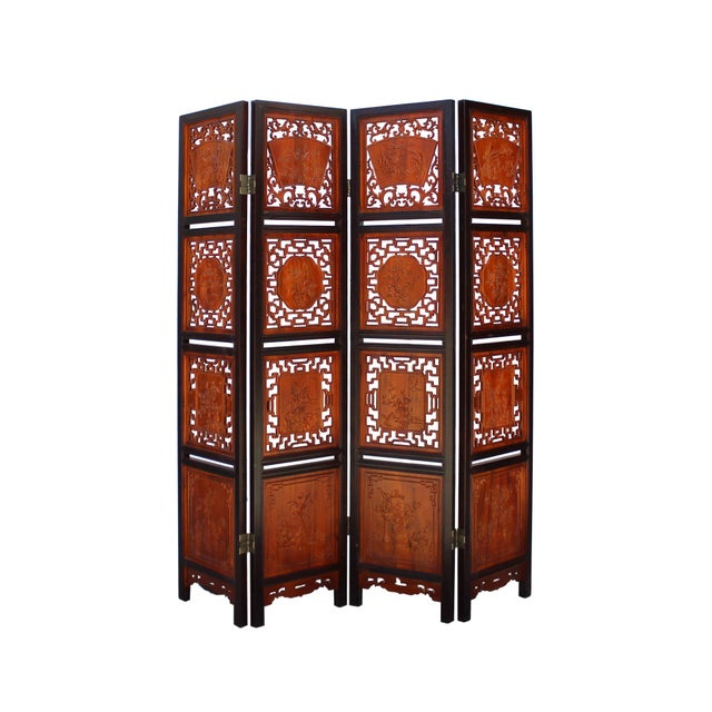 Chinese Chinese Scenery Carving 2 Brown Tone Wood Panel Floor Screen Display Shelf For Sale - Image 3 of 10