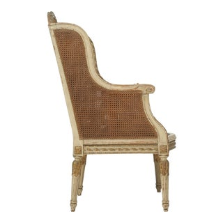 French Louis XVI Style Bergère Chair or Wingback in Original Paint For Sale