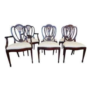 Hickory White Shield Back Mahogany Sheraton Style Dining Room Chairs - Set of 6 For Sale