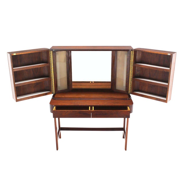 Rosewood Art Deco Open Up Vanity with Light and Matching bench For Sale