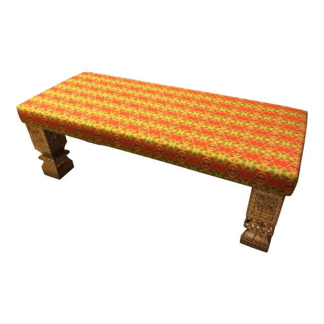Custom Long Bench With Hand-Chased German Silver Legs and Custom Fabric For Sale