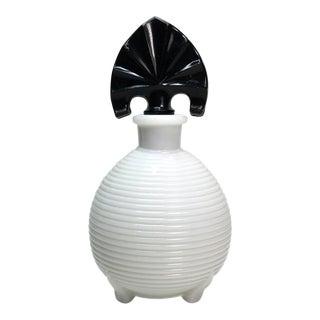 Milk Glass Perfume Bottle with Black Stopper