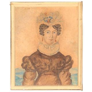 Folk Art Miniature Watercolor of Fancy Lady For Sale