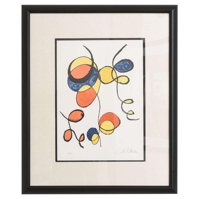 20th Century Pencil Signed Color Lithograph by Alexander Calder For Sale