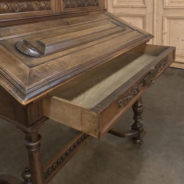 Wood 19th Century French Henri II Walnut Secretary For Sale - Image 7 of 11