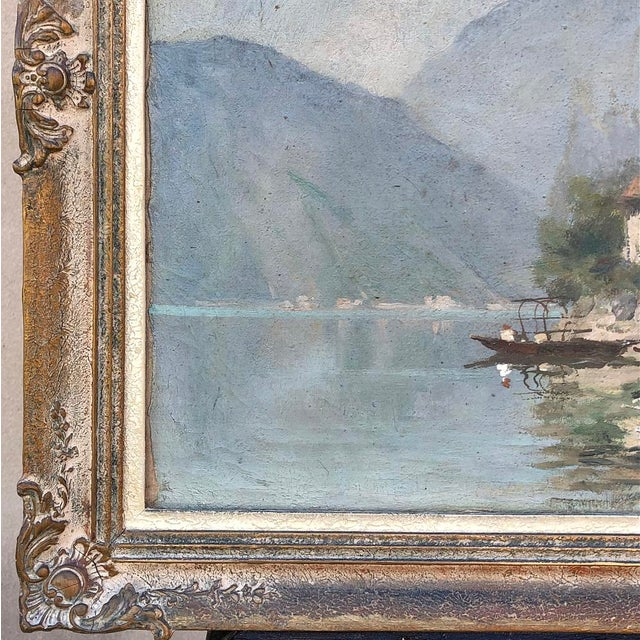 Canvas Antique Framed Oil Painting on Canvas For Sale - Image 7 of 12