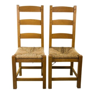 19th Century Vintage Shaker Ladder Back Chairs - a Pair For Sale