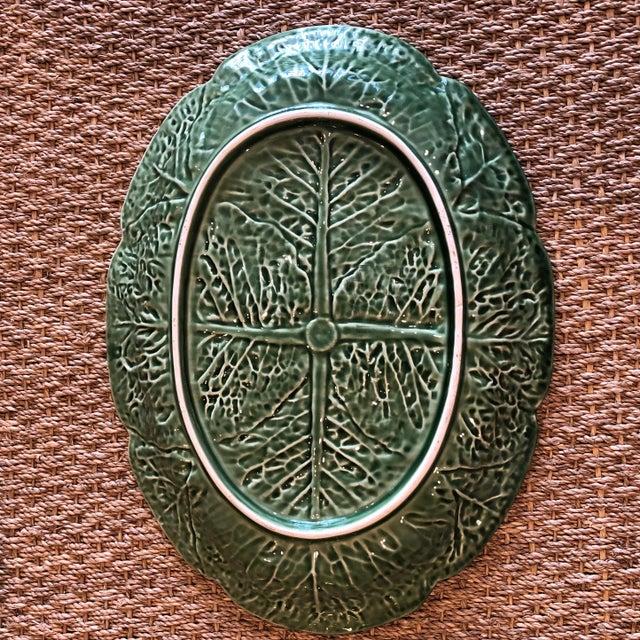 Traditional Oval Cabbage Leaf Platter For Sale - Image 6 of 10