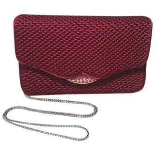 Judith Leiber Dark Red Satin Silk and Swarovski Crystal Evening Bag Clutch For Sale