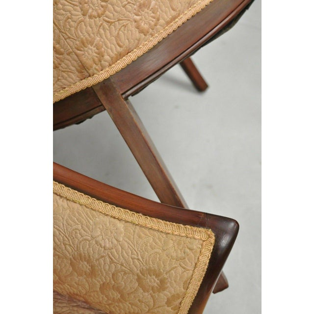 Early 20th Century Vintage Hollywood Regency French Style Mahogany Armchairs- A Pair For Sale - Image 9 of 13
