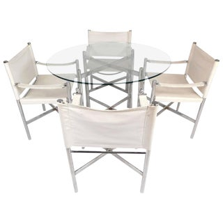 Mid-Century Modern Chrome X-Base Dining Set For Sale