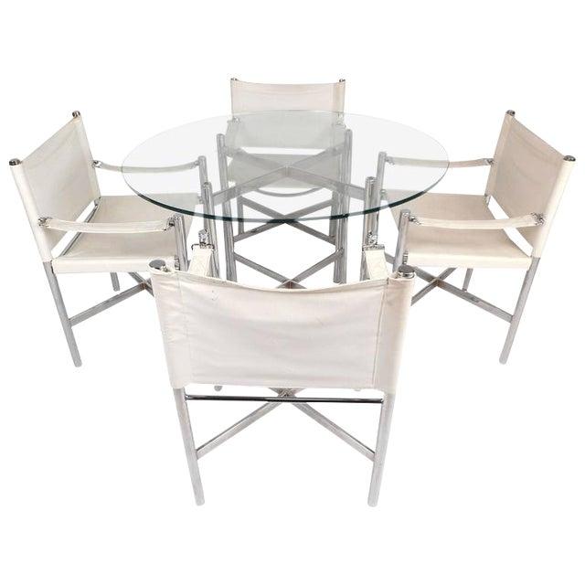 Mid-Century Modern Chrome X-Base Dining Set For Sale