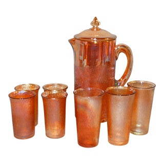Jeannette Marigold Tree Bark Pitcher and Glasses Set For Sale