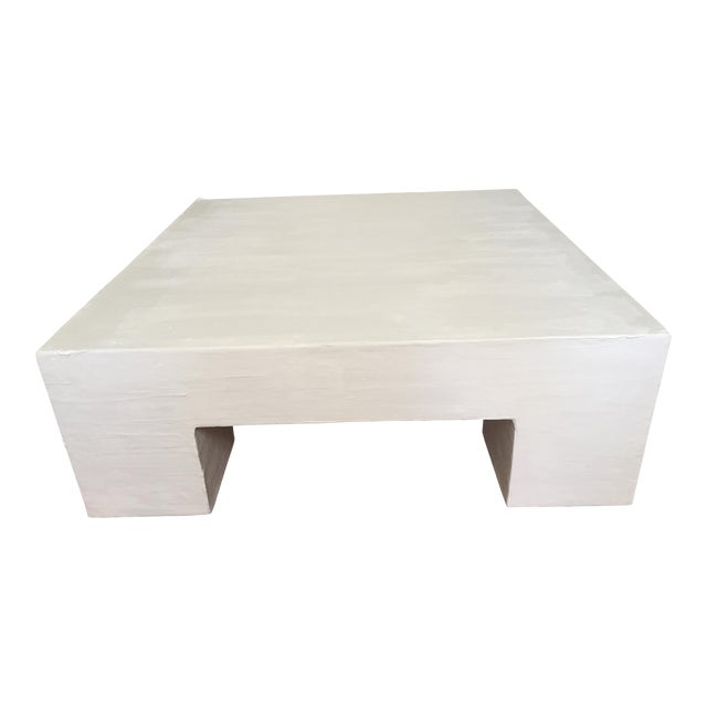 Raw Plaster Mid-Century Modern Inspired Coffee Table For Sale