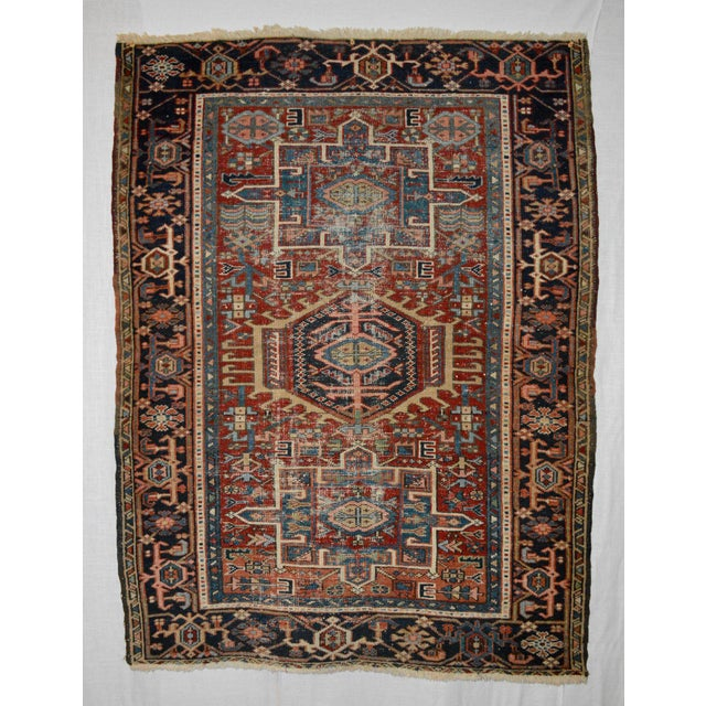 """Cotton Antique Shabby Chic Heriz Wool Rug - 3'4"""" X 4'7"""" For Sale - Image 7 of 7"""